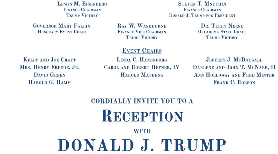 Photo - Shown is the invitation for the fundraiser in Norman for Republican presidential candidate Donald J. Trump.
