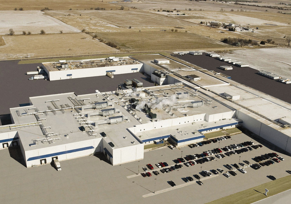 Enid-based Advance Food Co.'s latest plant, Enterprise, is shown in the foreground. The Philly steak production plant is directly behind the Enterprise, and Advance's distribution center is to the right. PHOTO PROVIDED <strong>PROVIDED</strong>