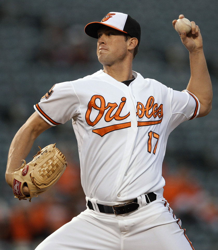 Photo -   Baltimore Orioles starting pitcher Brian Matusz throws to the Toronto Blue Jays in the second inning of a baseball game in Baltimore, Thursday, April 26, 2012. (AP Photo/Patrick Semansky)