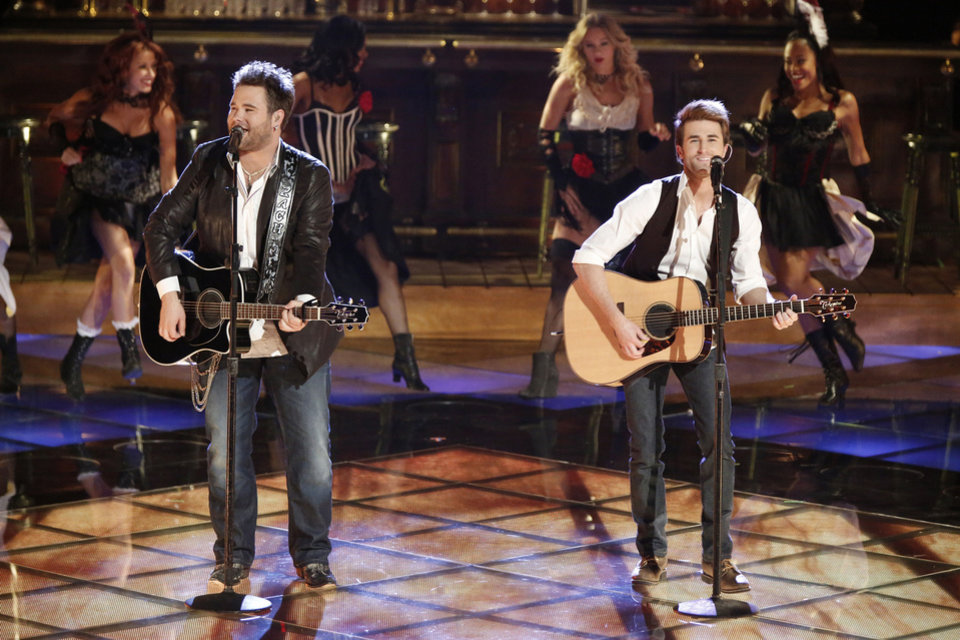 "THE VOICE -- Episode 417A ""Live Show"" -- Pictured: (l-r) Zach Swon, Colton Swon of The Swon Brothers -- (Photo by: Tyler Golden/NBC) ORG XMIT: Season: 4"