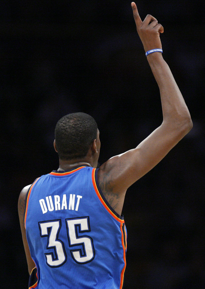 Oklahoma City's Kevin Durant (35) celebrates during Game 4 in the second round of the NBA basketball playoffs between the L.A. Lakers and the Oklahoma City Thunder at the Staples Center in Los Angeles, Saturday, May 19, 2012. Photo by Nate Billings, The Oklahoman