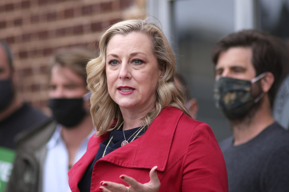 Photo - Congresswoman Kendra Horn hosts a press conference at the Paramount Room, calling for passage of the RESTART Act and the Save Our Stages Act, Thursday, September 10, 2020. [Doug Hoke/The Oklahoman]