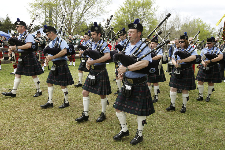 "Members of the ""Oklahoma Scottish Pipes and Drums"" perform during the Iron Thistle Scottish Heritage Festival in Yukon, OK, Saturday, April 27, 2013,  By Paul Hellstern, The Oklahoman"