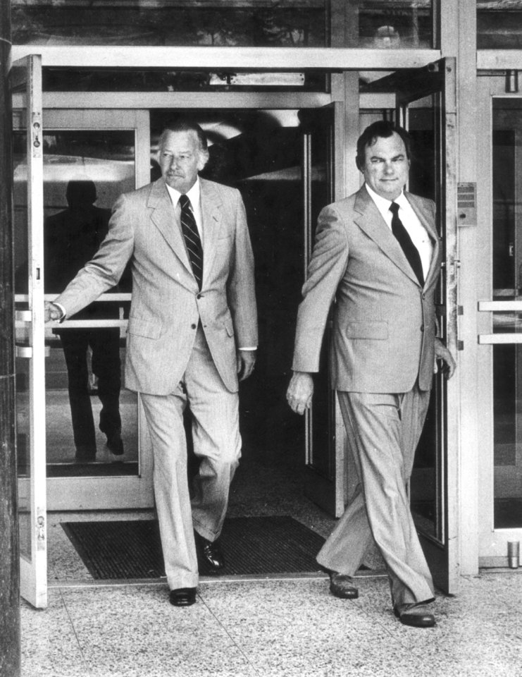 Photo - State Sen. Gene Stipe, right, and his attorney, James Linn, leave Oklahoma City federal court Monday after the first day of the extortion trial of Stipe and Chickasha attorney Red Ivy. Staff photo by Paul B. Southerland taken 8/10/81; photo ran in the 8/11/81 Oklahoma City Times.