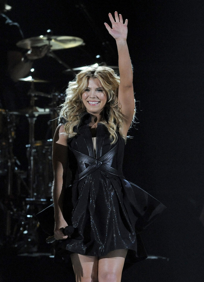 Kimberly Perry, of musical group The Band Perry, performs at the 48th Annual Academy of Country Music Awards at the MGM Grand Garden Arena in Las Vegas on Sunday, April 7, 2013. (Photo by Chris Pizzello/Invision/AP) ORG XMIT: NVPM250