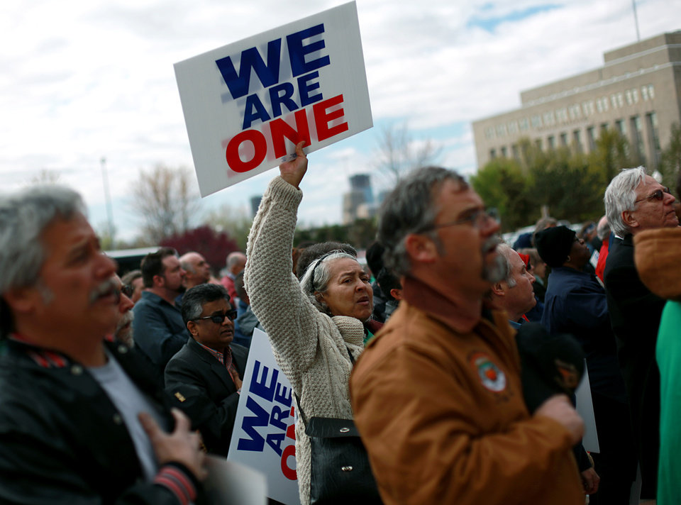 A woman who refused to giver her name joins other union workers and supporters during a rally outside the Oklahoma State Capitol in Oklahoma City on Monday, April 2, 2011. Photo by John Clanton, The Oklahoman