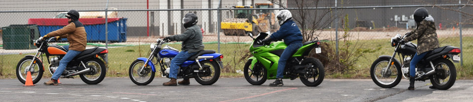Photo -  Riders prepare to drive through the course during the Precision Driving School motorcycle training class in Norman. [Photo by Tyler Drabek, For The Oklahoman]
