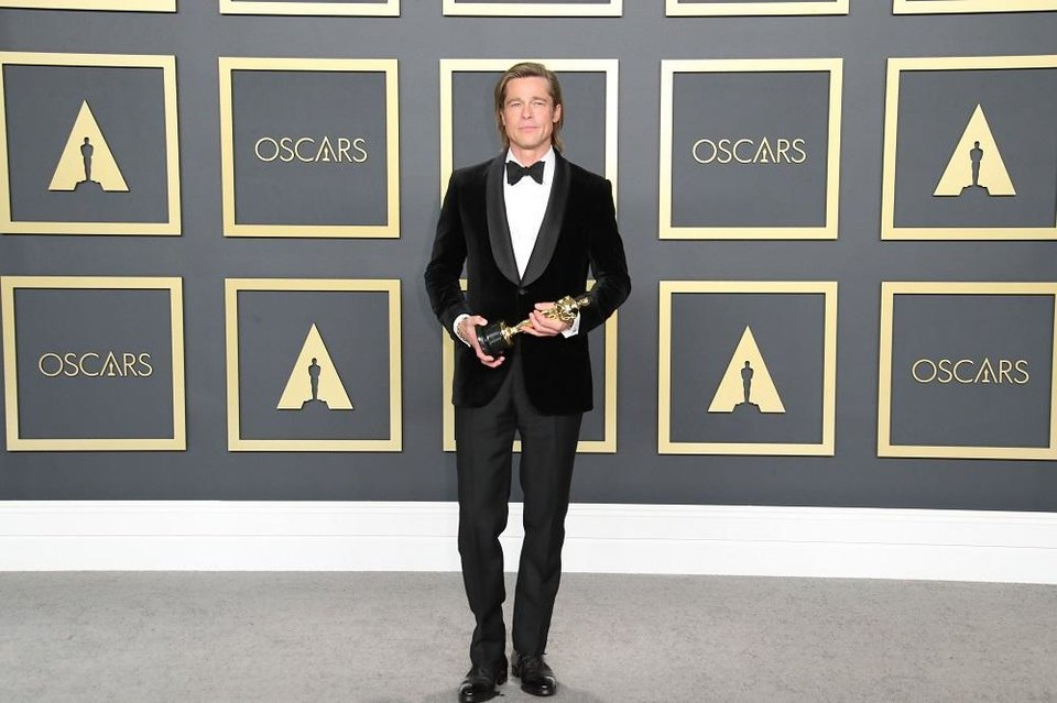 Photo - Brad Pitt, winner of the award for best performance by an actor in a supporting role for