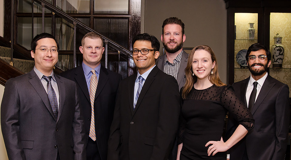 Photo - Dr. Alexander Davis, Dr. Timothy Vavricka, Dr. Nigam Sheth,  Dr. Chad Smith, Dr. Janine Collinge and Dr. Nimish Parekh. PHOTO BY JOHN DOUGLAS