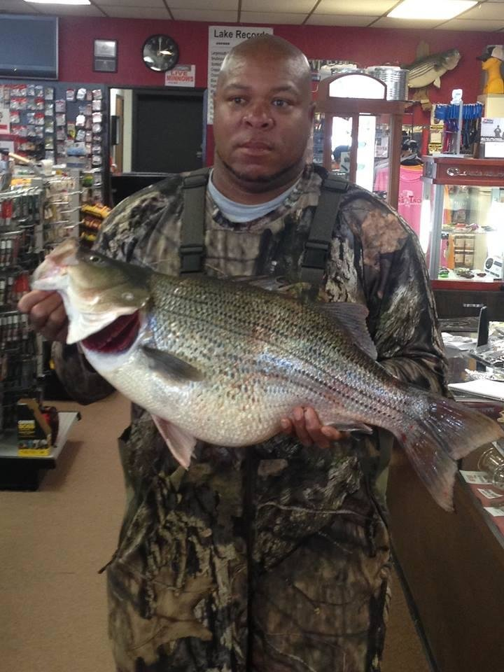 Photo -  Clidell Woody of Oklahoma City holds the new Lake Hefner striped bass hybrid record. He caught the 16.1-pound hybrid on March 18 near the spillway. (Photo provided)