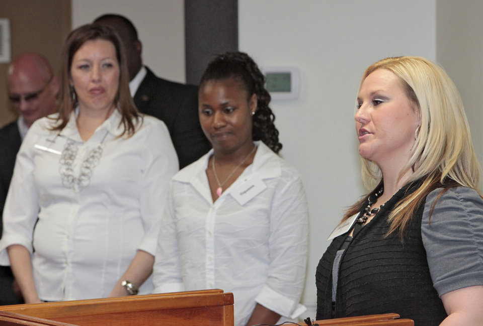 Resident Starla, Tiquana and Amanda address Gov. Mary Fallin and other dignitaries during her tour of Jordan's Crossing, an Oklahoma City facility for pregnant and postpartum women and mothers in recovery. <strong>David McDaniel - The Oklahoman</strong>
