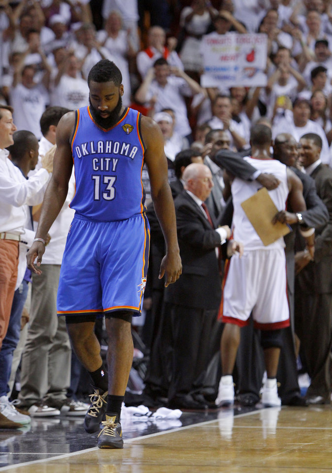 Oklahoma City\'s James Harden (13) walks to the bench during Game 5 of the NBA Finals between the Oklahoma City Thunder and the Miami Heat at American Airlines Arena, Thursday, June 21, 2012. Oklahoma City lost 121-106. Photo by Bryan Terry, The Oklahoman