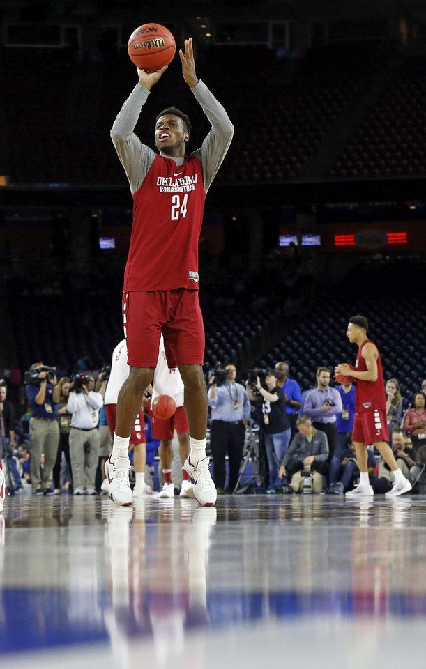 Photo - Oklahoma's Buddy Hield shoots during practice on Final Four Friday before the national semifinal between the Sooners and Villanova Wildcats in the NCAA Men's Basketball Championship at NRG Stadium in Houston. (Photo by Nate Billings, The Oklahoman)