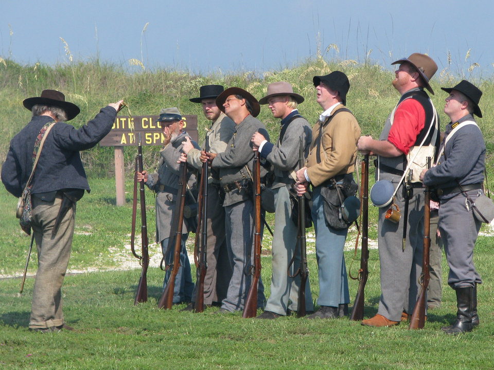 Photo -  Re-enactors traveled from at least three states to Fort Morgan to mark the 149th anniversary of the Battle of Mobile Bay last August. Photo by Peter Wright, for The Oklahoman