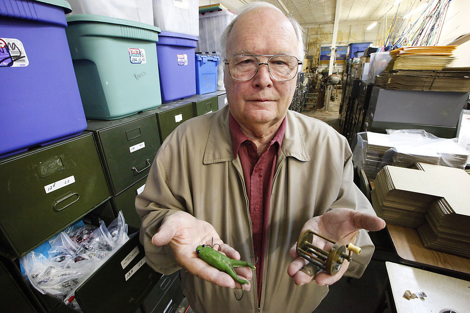 Karl White of Luther with some of his multimillion dollar fishing lure collection on Friday, April 26, 2013.  Photo By David McDaniel, The Oklahoman