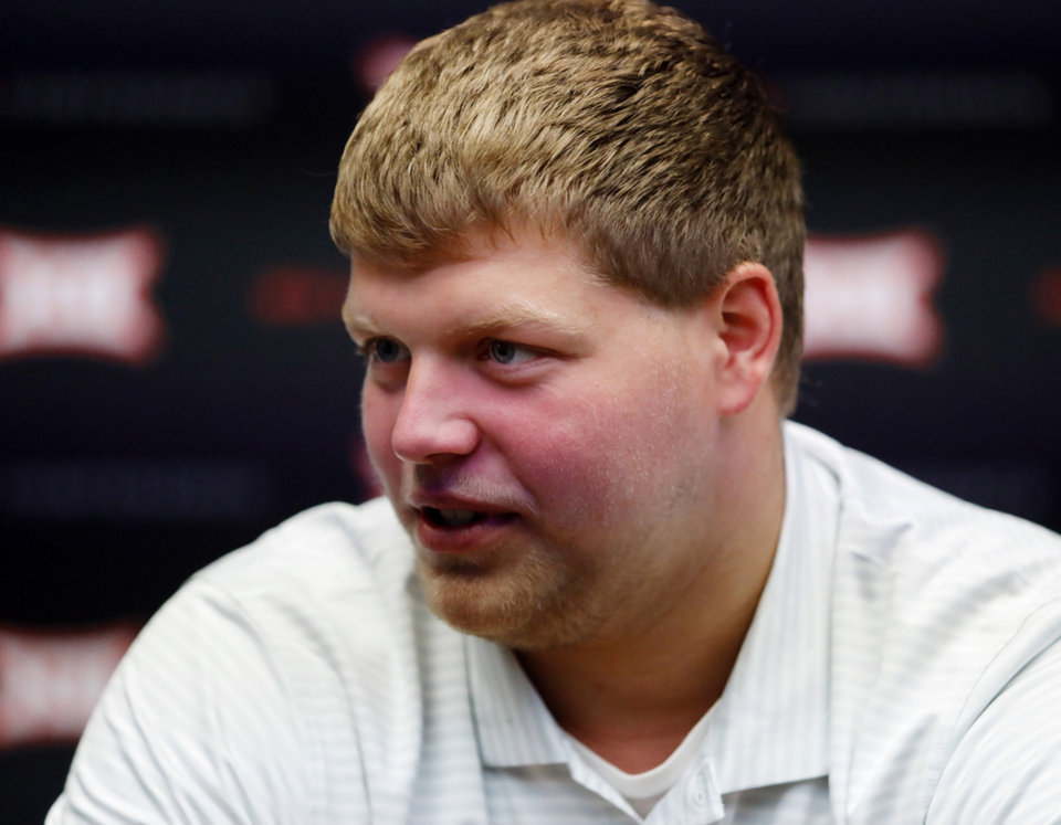 Photo - Iowa State defensive lineman Josh Knipfel speaks during Big 12 Conference NCAA college football media day Tuesday, July 16, 2019, at AT&T Stadium in Arlington, Texas. (AP Photo/David Kent)