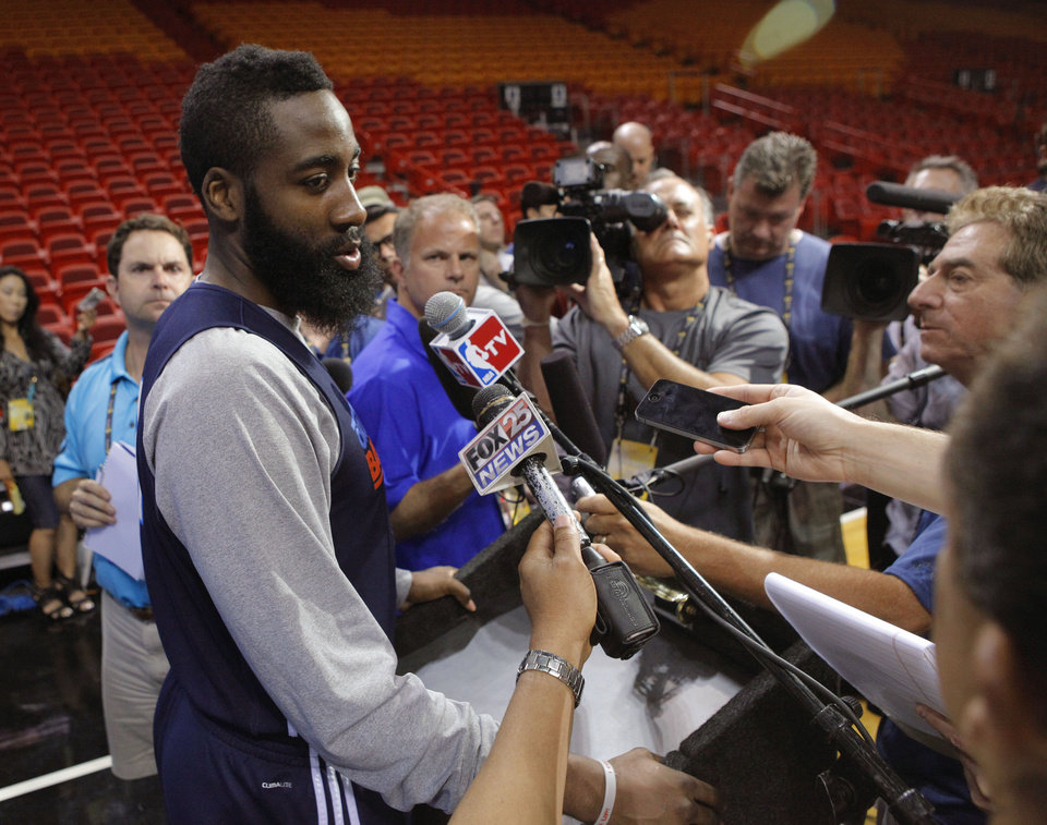 Oklahoma City\'s James Harden answers questions the day before Game 4 of the NBA Finals between the Oklahoma City Thunder and the Miami Heat at American Airlines Arena, Monday, June 18, 2012. Photo by Bryan Terry, The Oklahoman