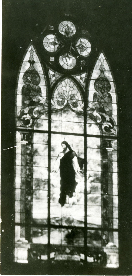 Photo - This older photo shows one of the stained-glass windows in First Lutheran Church.  THE OKLAHOMAN ARCHIVE COLLECTION