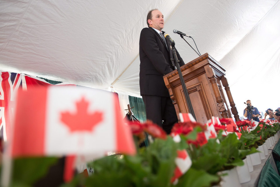 Photo - Former Montreal Expos third baseman Tim Wallach speaks during the 2014 induction ceremony at the Canadian Baseball Hall of Fame in St. Mary's, Ontario, Saturday, June 21, 2014. (AP Photo/The Canadian Press, Geoff Robins)