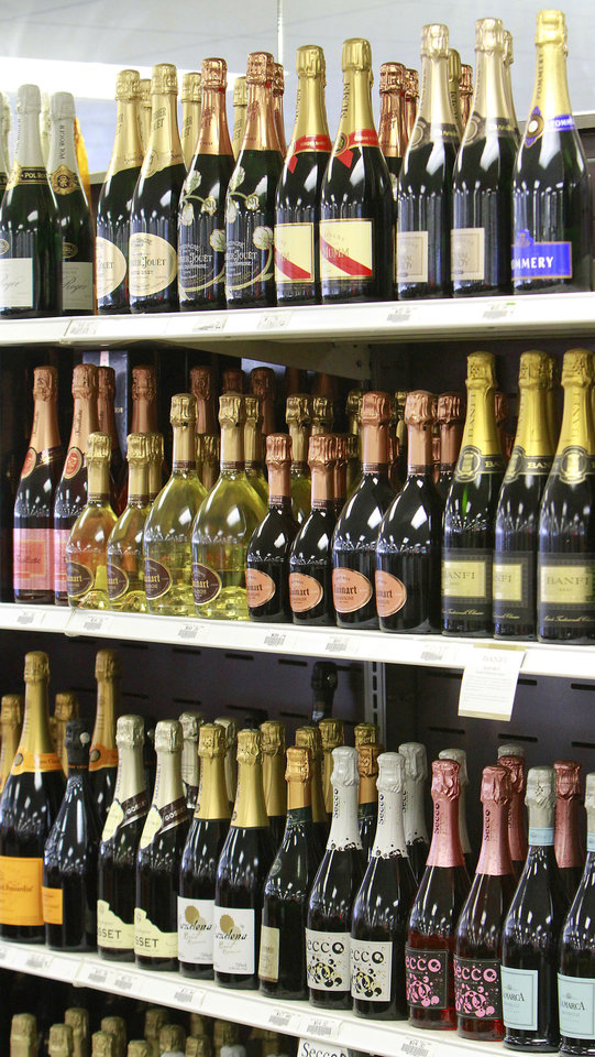 Photo - Champagne in the wine department in Byron's Liquor Stores, Wednesday, November 23, 2011.    Photo by David McDaniel, The Oklahoman