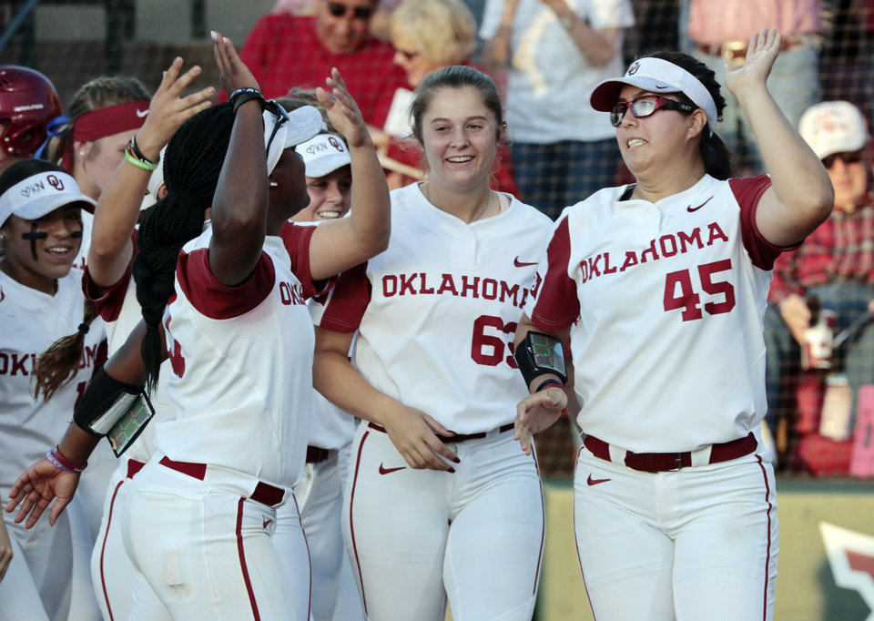 "Photo - Pitcher Giselle ""G"" Juarez, right, and Shay Knighten celebrate the teamÕs two home run inning in Bedlam softball as the University of Oklahoma Sooners (OU) play the Oklahoma State Cowboys (OSU) at Marita Hynes Field at the OU Softball Complex on  May 4, 2019 in Norman, Okla.  [Steve Sisney/For The Oklahoman]"