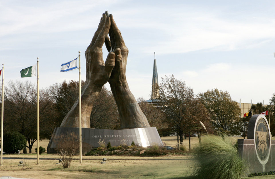 Photo - The large praying hands at Oral Roberts University in Tulsa, Okla. Nov. 28, 2007.  BY STEVE GOOCH, THE OKLAHOMAN