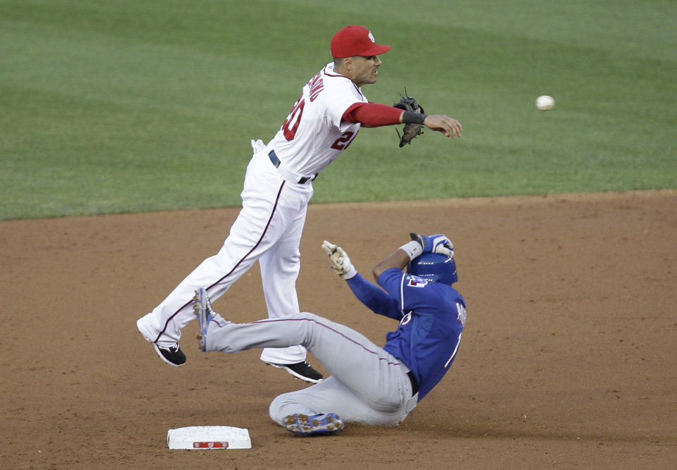 Photo - Texas Rangers' Elvis Andrus, right, is forced out at second base as Washington Nationals shortstop Ian Desmond attempts a double play during the third inning of a baseball game on Friday, May 30, 2014, in Washington. (AP Photo/Luis M. Alvarez)