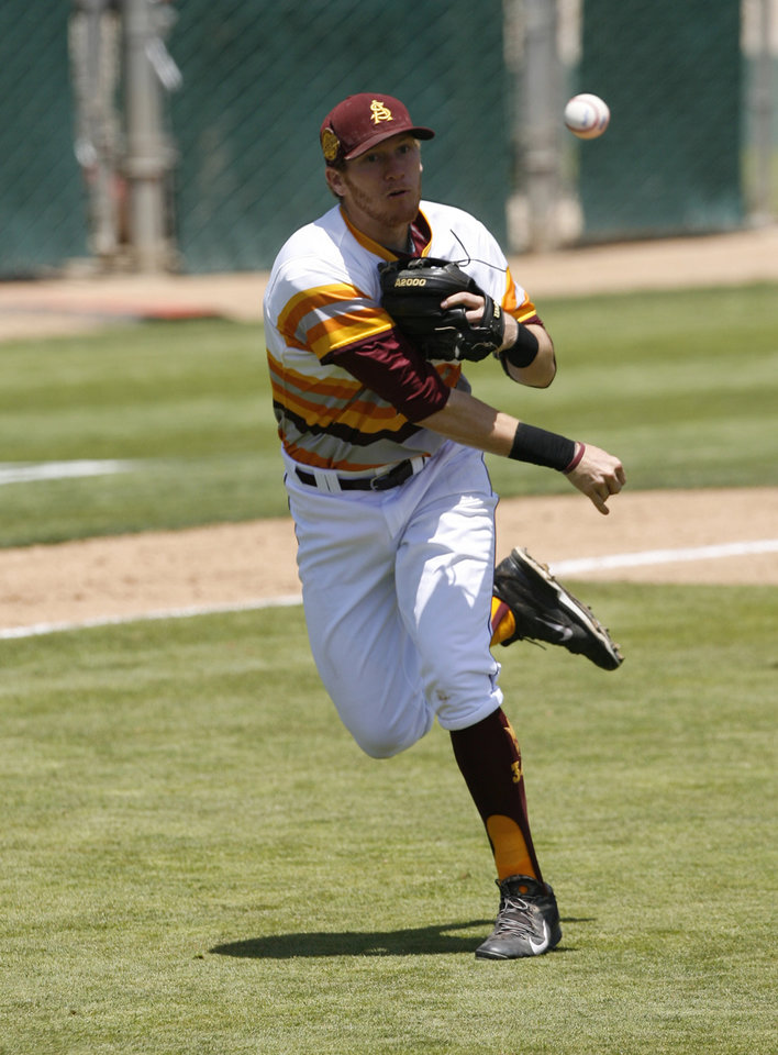 Photo - Arizona State third baseman Dalton DiNatale (13) throws to first in the first inning against Pepperdine in an NCAA college baseball tournament regional game Friday, May 30, 2014, in San Luis Obispo, Calif. (AP Photo/Aaron Lambert)