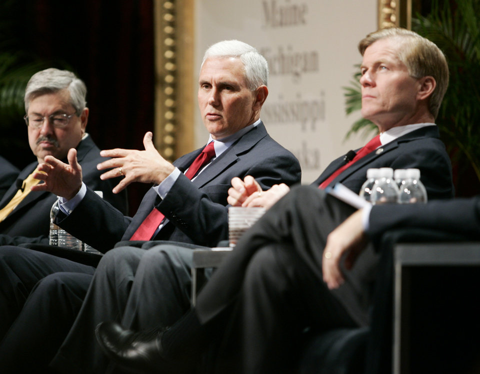 Iowa Gov. Terry Branstad, left, Indiana Gov.-Elect Mike Pence, center, and Republican Governors Association Chairman and Virginia Gov. Bob McDonnell participate in a panel discussion during the 2012 RGA Annual Conference at Encore hotel-casino Thursday, Nov. 15, 2012, in Las Vegas. Top Republicans meeting for the first time since Election Day say the party failed to unseat President Barack Obama because nominee Mitt Romney did not respond to criticism strongly enough or outline a specific agenda with a broad appeal. (AP Photo/Ronda Churchill)