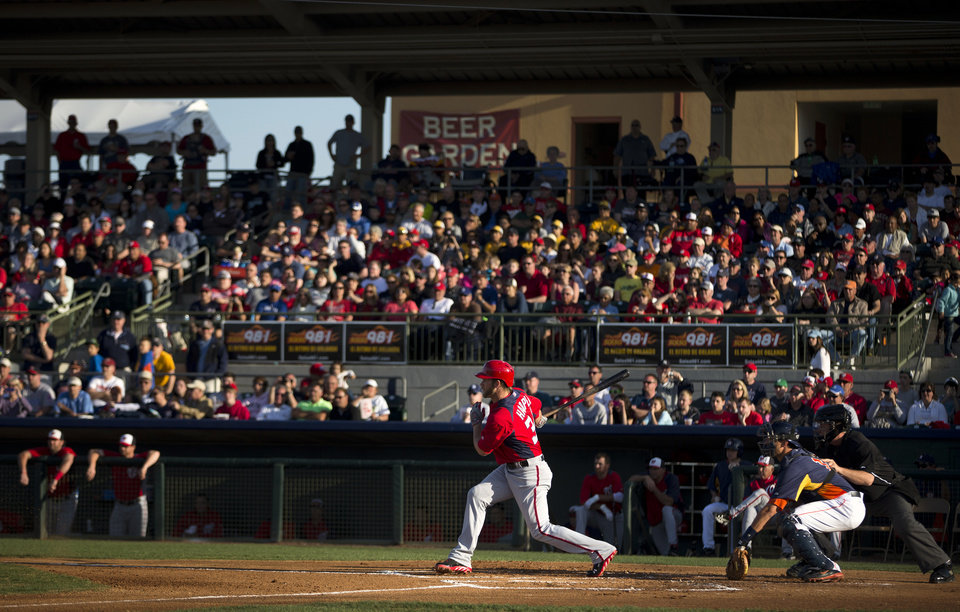 Washington Nationals' Bryce Harper hits a single during the first inning of an exhibition spring training baseball game against the Houston Astros on Monday, March 25, 2013, in Kissimmee, Fla.  (AP Photo/Evan Vucci)
