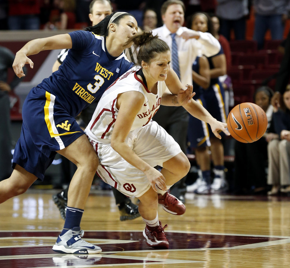 Photo - West Virginia Mountaineers' Akilah Bethel (3) fouls Oklahoma Sooner's Morgan Hook (10) during the second half as the University of Oklahoma Sooners (OU) defeat the West Virginia Mountaineers 71-68 in NCAA, women's college basketball at The Lloyd Noble Center on Wednesday, Jan. 2, 2013  in Norman, Okla. Photo by Steve Sisney, The Oklahoman