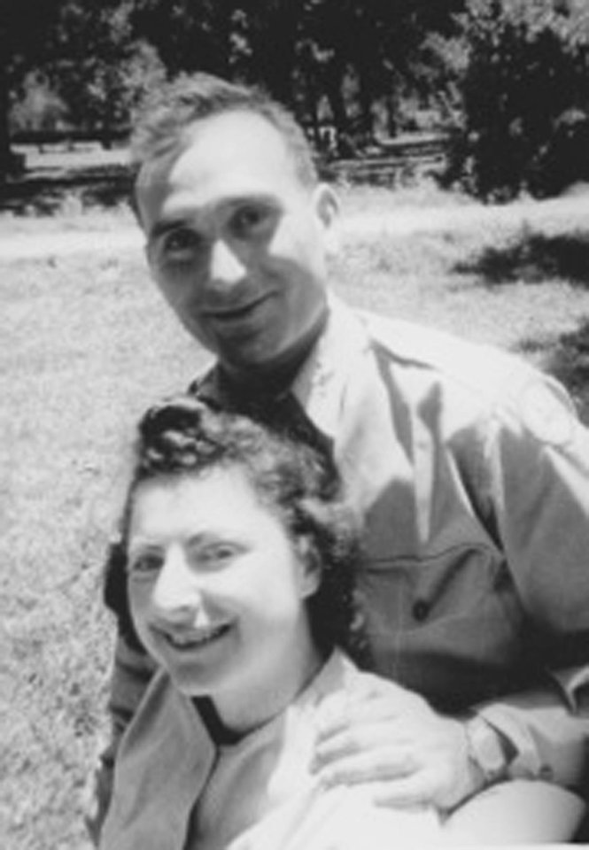 Photo - HOLD FOR STORY MOVEMENT - This undated image provided by Hyla Merin shows 2nd Lt. Hyman Markel with his bride, Celia Markel. Markel was a rabbi's son, brilliant at mathematics, the brave winner of a Purple Heart who died in 1945. Markel was killed on May 3, 1945, in Italy's Po Valley while fighting German troops as an officer with the 88th Division of the 351st Infantry Regiment. (AP Photo/Hyla Merin)