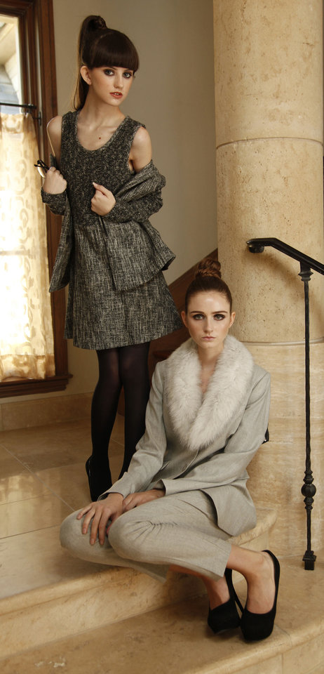 Gray pantsuit with removable faux fur collar and textured dress with matching jacket. Both are by Theory and available at CK & Co.  Makeup by L.J. Hill. Hair by Dianne Truong, Trichology Salon. Photo by Doug Hoke, The Oklahoman   <strong>DOUG HOKE</strong>