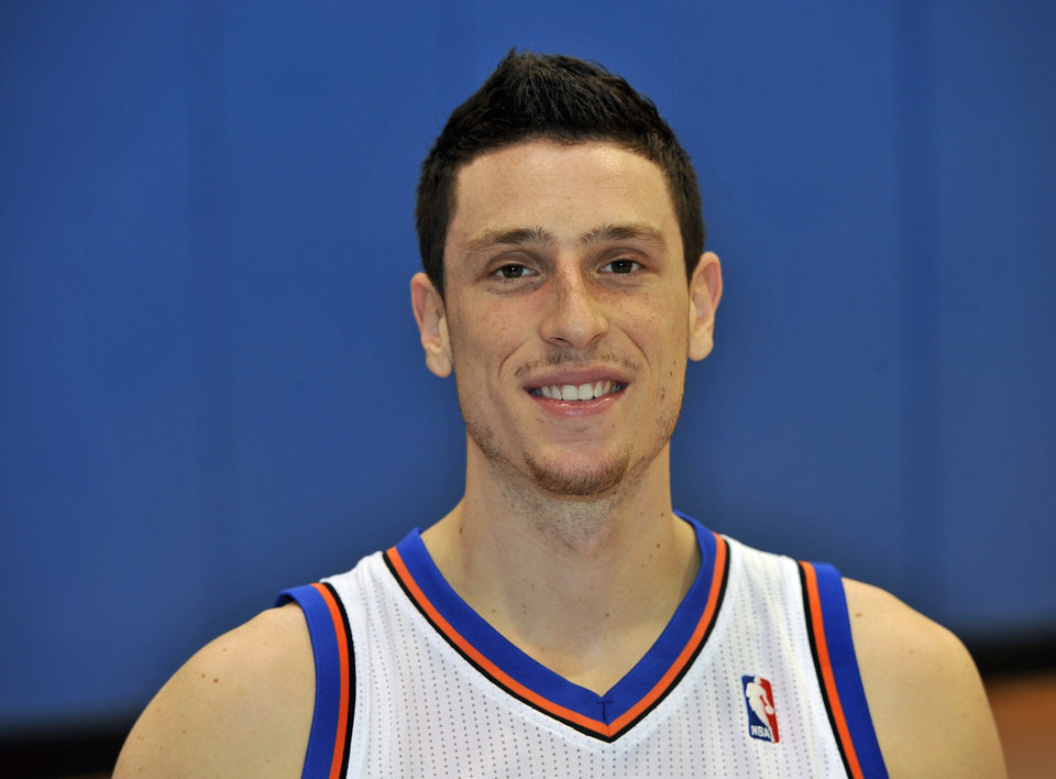 New York Knicks\' Andy Rautins at Media Day at the MSG Training Facility Friday, Sept. 24, 2010, in Greenburgh, New York. (AP Photo/Kathy Kmonicek)