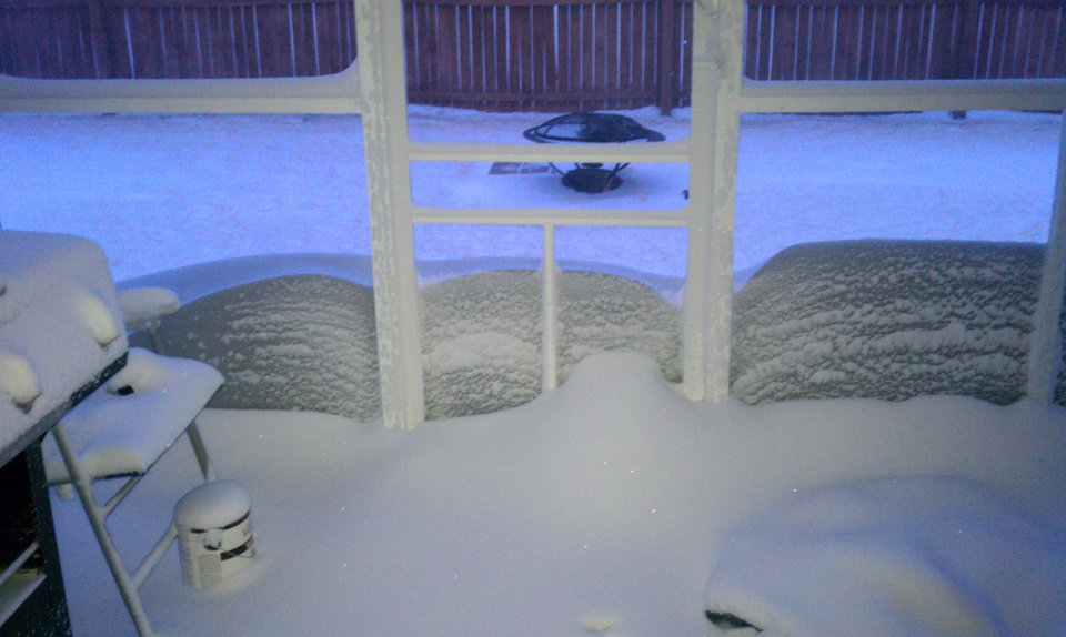 This is the view outside my back door in Mustang. The snow is halfway up my screen door not to mention its covered my porch