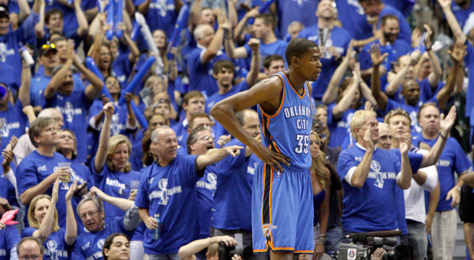 Oklahoma City's Kevin Durant (35) stands in front of the crowd during game 5 of the Western Conference Finals in the NBA basketball playoffs between the Dallas Mavericks and the Oklahoma City Thunder at American Airlines Center in Dallas, Wednesday, May 25, 2011. Photo by Bryan Terry, The Oklahoman ORG XMIT: KOD