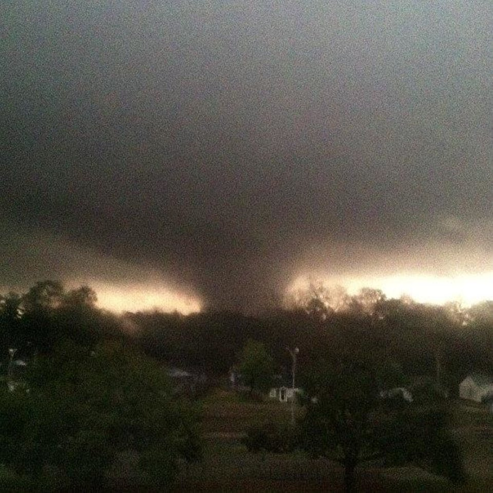 This photo provided by Jordan Holliman shows a tornado moving through Hattiesburg, Miss., Sunday, Feb. 10, 2013. AP photo Jordan Holliman