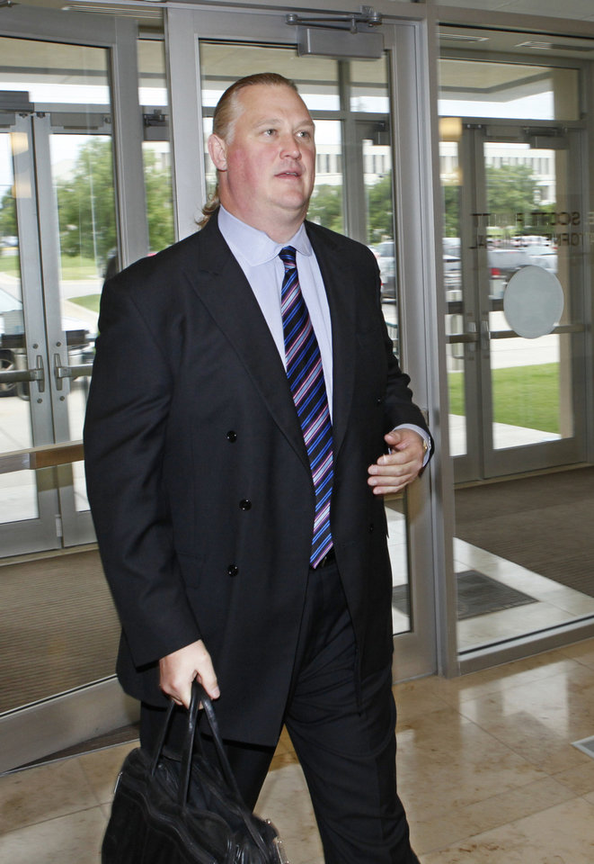 Lewis B. Moon arrives in June to testify before the state's grand jury. Photo by David McDaniel, The Oklahoman archives