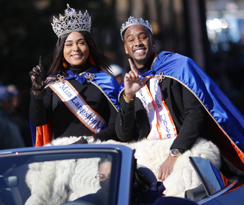 Photo - Miss and Mr Langston University at the MLK Day Parade during celebration of Dr. Martin Luther King, Jr. holiday, Monday, January 20, 2019. [Photo by Doug Hoke/The Oklahoman]