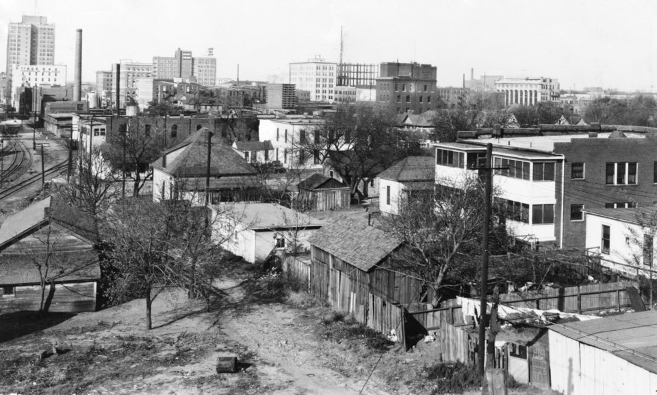 OKLAHOMA CITY / SKY LINE / OKLAHOMA / 1927:  Looking NW from Walnut Avenue viaduct.  Photo undated and published 03/05/1939 in The Daily Oklahoman.