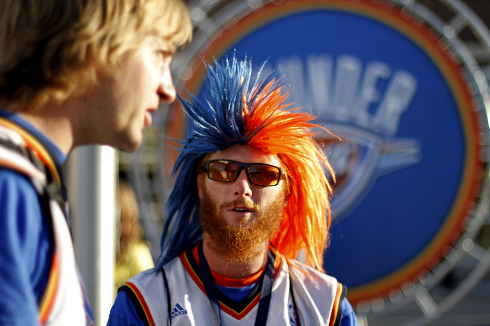 Richard Spurr, of Edmond, talks with William Stafford, left, of Oklahoma City outside the arena before Game 2 in the second round of the NBA playoffs between the Oklahoma City Thunder and L.A. Lakers at Chesapeake Energy Arena in Oklahoma City, Wednesday, May 16, 2012. Photo by Bryan Terry, The Oklahoman
