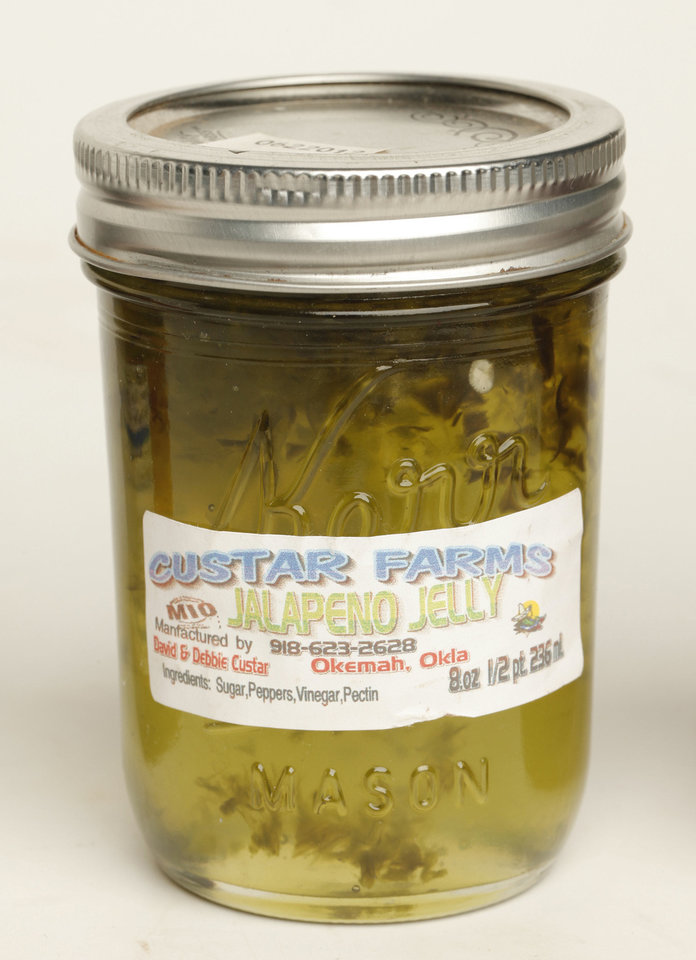 Custar Farms jalapeno jelly.  Photo by Doug Hoke, The Oklahoman. <strong>DOUG HOKE - THE OKLAHOMAN</strong>