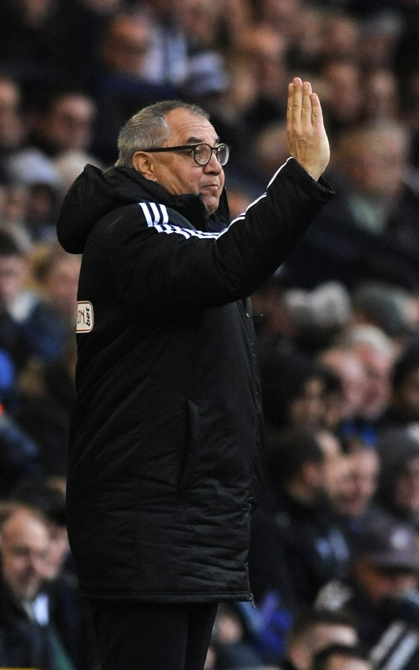 Photo - Fulham manager Felix Magarth gives instructions to his players from the technical area during the English Premier League soccer match between West Bromwich Albion and Fulham at Hawthorns Stadium in West Bromwich, England, Saturday, Feb. 22 2014. (AP Photo/Rui Vieira)