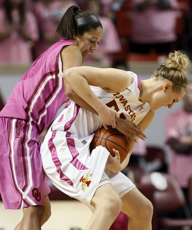 Photo - Oklahoma's Nicole Griffin (4) pressures Iowa State's Anna Prins (55) during an NCAA women's basketball game between the University of Oklahoma (OU) and Iowa State at the Lloyd Noble Center in Norman, Okla., Thursday, Feb. 14, 2013. Iowa State won, 72-68. Photo by Nate Billings, The Oklahoman