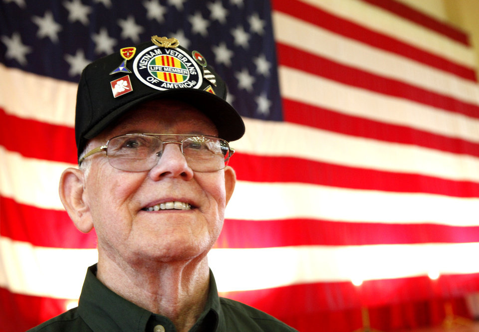 Vietnam veteran Frank Hise smiles Friday during a homecoming ceremony  at Fort Sill.