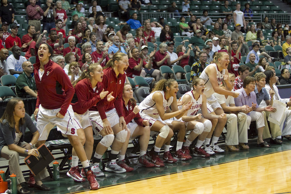 The Stanford bench reacts to a score during an NCAA college basketball game against Baylor, Friday, Nov. 16, 2012 in Honolulu. Stanford won 71-69. (AP Photo/Marco Garcia)