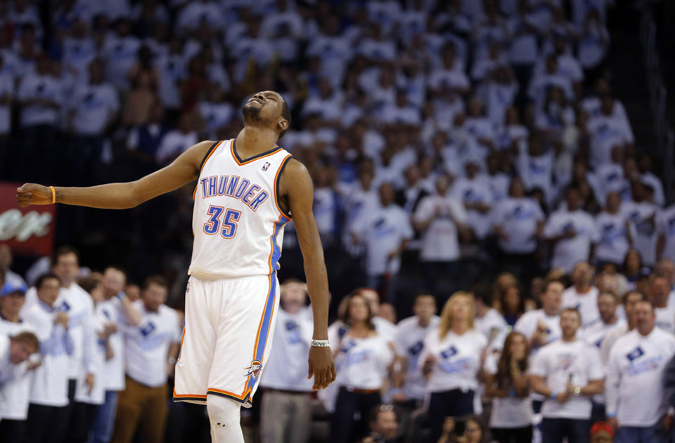 Oklahoma City\'s Kevin Durant (35) reacts after missing his final shot during Game 5 in the second round of the NBA playoffs between the Oklahoma City Thunder and the Memphis Grizzlies at Chesapeake Energy Arena in Oklahoma City, Wednesday, May 15, 2013. Photo by Sarah Phipps, The Oklahoman
