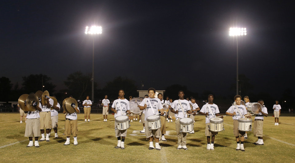 Photo - The Star Spencer band performs during halftime of the high school football game between Millwood and Star Spencer in Spencer, Thursday, September 5, 2013. Photo by Doug Hoke, The Oklahoman