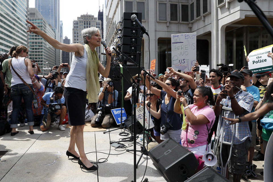 Photo - Dr. Jill Stein, presumptive Green Party presidential nominee, speaks at a rally in Philadelphia, Tuesday, July 26, 2016, during the second day of the Democratic National Convention. (AP Photo/John Minchillo)