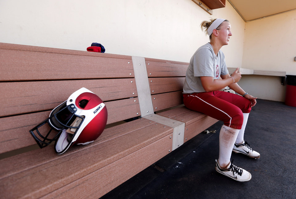 Photo - Shelby Pendley, infield, talks about the upcoming Softball Regional at the University of Oklahoma (OU) on Tuesday, May 14, 2013 in Norman, Okla.  Photo by Steve Sisney, The Oklahoman